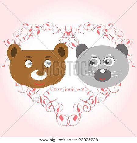 bear and lemur face in love