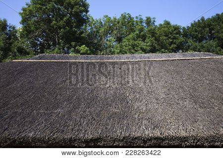 Roof Of Reeds. Traditional Roof Of Reeds In The Moldovan Village.