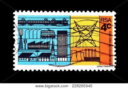 South Africa - Circa 1973 : Cancelled Postage Stamp Printed By South Africa, That Shows Electricity