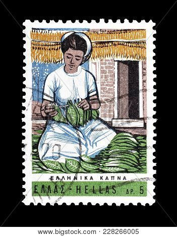 Greece - Circa 1966 : Cancelled Postage Stamp Printed By Greece, That Shows Woman Sorting Out Tobacc