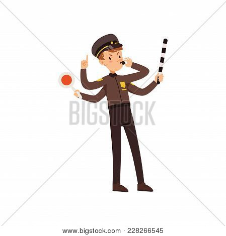 Multitasking Police Officer Character Managing Road Traffic, Policeman With Many Hands Vector Illust