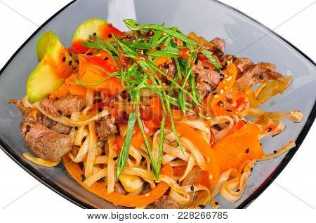 Udon Stir-fry Noodles With Chicken Meat And Sesame In Bowl On Whote Background