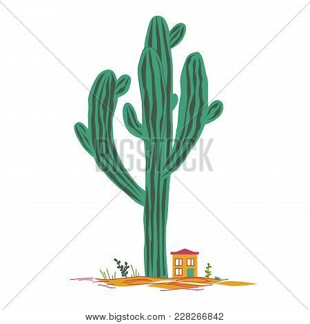 Cute Cartoon Illustration With High Saguaro Cactus And Liitle House. Mexican Fairy Landscape, Print