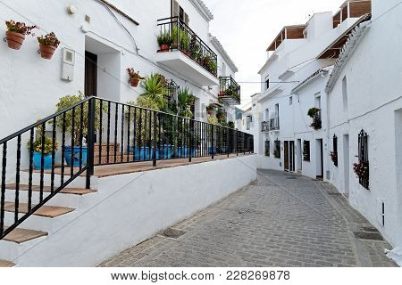 Quiet Street In Mijas. Charming White Village In Andalusia, Costa Del Sol. Southern Spain.