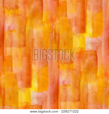 Abstract Seamless Pattern With Orange And Yellow  Watercolor Spots. Hand-drawn Illustration.