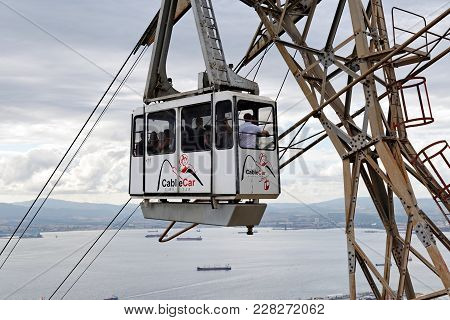 Gibraltar - August 29, 2017: Cable Car Close To The Top Of Gibraltar Rock. Cable Car Is A Comfortabl