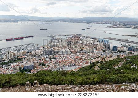 An Aerial View Of Gibraltar, Its Marina,the Gibraltar Bay And The Spanish Shore As Seen From The Roc