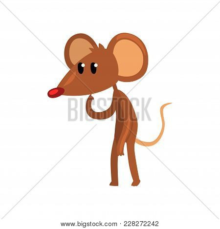 Cute Brown Thoughtful Mouse Standing On Two Legs, Funny Rodent Character Cartoon Vector Illustration