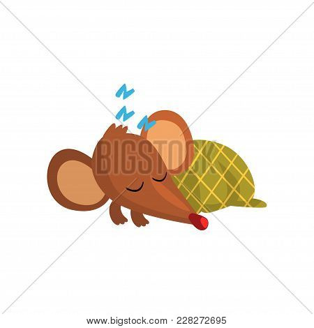 Cute Brown Mouse Sleeping On The Floor Wrapped In Green Blanket, Funny Rodent Character Cartoon Vect