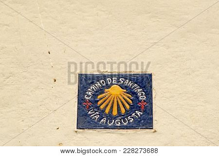 Sign Of The Medieval Religious Route Of Camino De Santiago (the Way Of St. James) From Cadiz To The