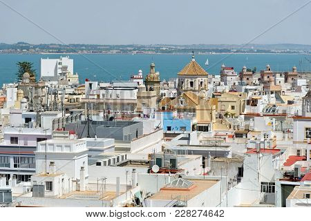 Aerial View Of Cadiz From Torre Tavira, Andalucia, Spain, An Ancient Port City, Built On A Strip Of