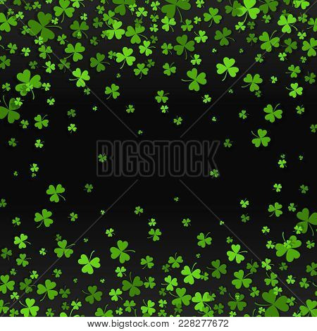 Saint Patrick S Day Frame With Green Four And Tree Leaf Clovers On Black Background. Vector Illustra
