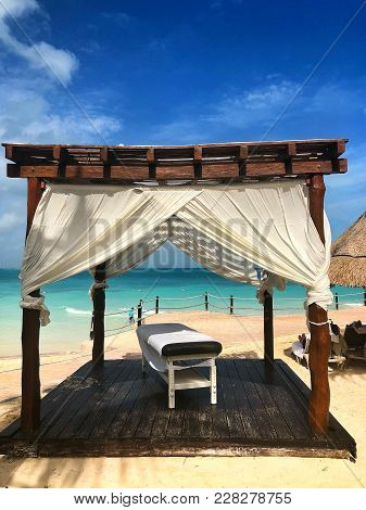 On A Beach In Cancun.cancun, A Mexican City On The Yucatan Peninsula Bordering The Caribbean Sea, Is