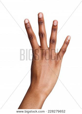 Black Female Hand Shows Number Four Isolated. Counting Gesturing, Enumeration, White Background