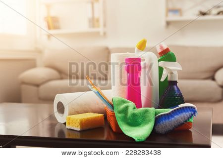 Bucket With Chemicals Bottles, Brush, Towel And Sponge. Household Equipment, Spring-cleaning, Tidyin