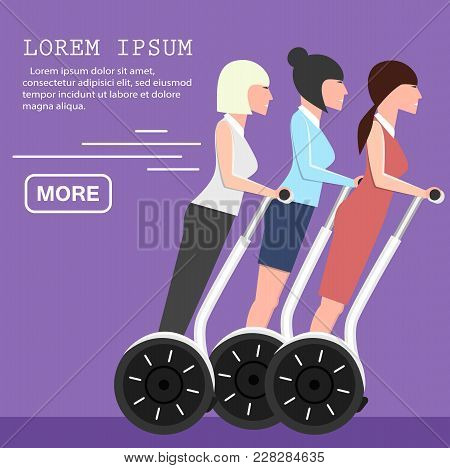 Young Business Women On Two Wheeled Self Balancing Scooter. Individual Electric City Transportation,