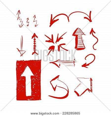 Hand Drawn Highlighter Elements. Vector Arrows On White Background