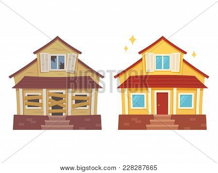 Fixer Upper Home Renovation Before And After. Old Run-down House Remodeled Into Cute Traditional Sub