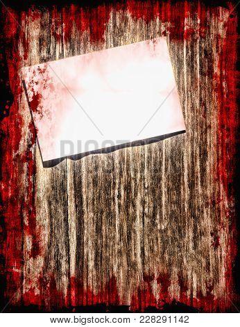Halloween Background.suicide Bloody Note On Grunge Wooden Background Taken Closeup.