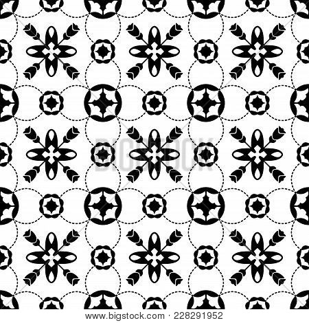 Tile Black And White Decorative Floor Tiles Seamless Pattern In Portugal Style. Majolica Pottery Til