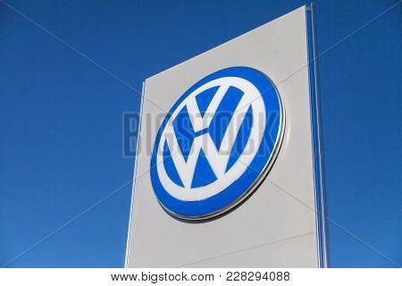 Fuerth / Germany - February 25, 2018: Volkswagen Logo Near A Car Dealer. Volkswagen Is A German Auto