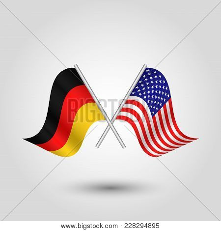 Vector Two Crossed German And American Flags On Silver Sticks - Symbol Germany And United States Of