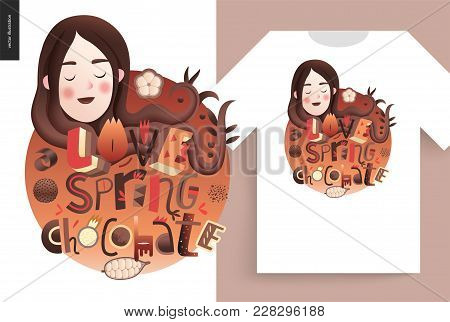 Love Spring Chocolate Slogan - Lettering Composition With A Girl Portrait And A T-shirt Usage Exampl