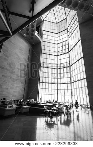 Doha City, Qatar - January 02, 2018: Huge Stained-glass Window In The Restaurant In Main Hall Of The