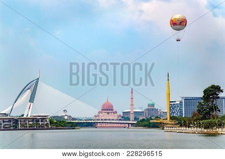 Beautiful City View With Lake, Putra Mosque Masjid , Bridge, Millennium Monument Alaf Baru, With Air