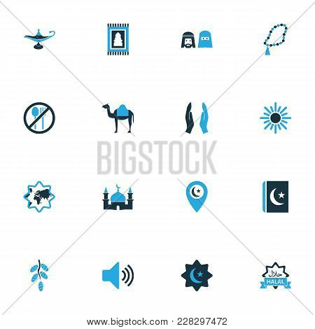 Religion Icons Colored Set With Rosary Islam, Food, People And Other World Elements. Isolated Vector