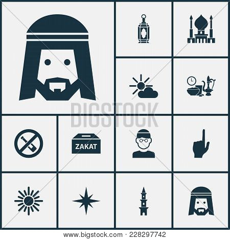 Religion Icons Set With God, Forbidden, Zakat And Other Pointer Finger Elements. Isolated Vector Ill