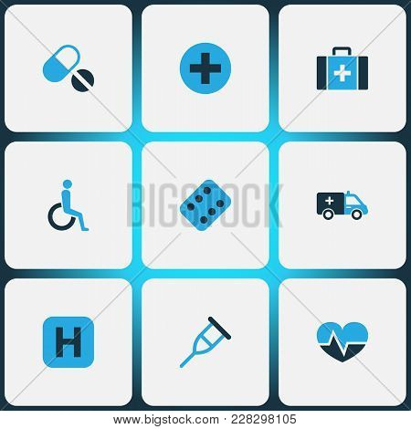 Medicine Icons Colored Set With Stand, Pulse, Handicapped Medicine Chest  Elements. Isolated Vector