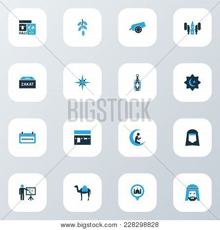 Religion Icons Colored Set With Teaching, Prayer, Qiblah And Other Direction Elements. Isolated Vect