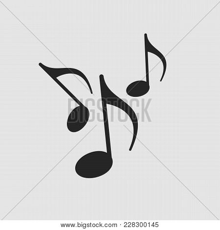 Music Notes Icon. Music Notes Vector Isolated. Flat Vector Illustration In Black. Eps