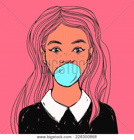 Young Cute Woman With Bubble Gum, Long Pink Hair And White Collar. Hand Drawn Pop Art Vector Illustr