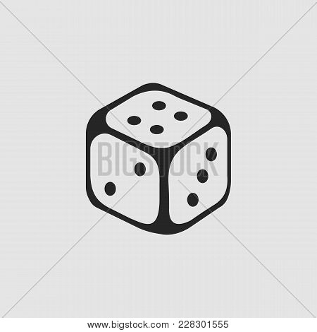 Dice Icon. Dice Vector Isolated. Flat Vector Illustration In Black. Eps