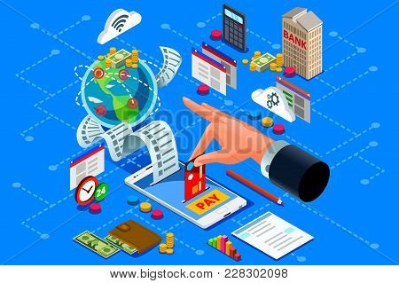 Billing Concept Or Paper Bill To Represent Online Web Payment. Ecommerce Or Bank Payment From Electr