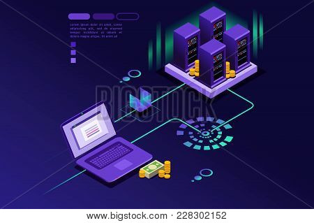 Transaction Records Of Internet Customer. Technology Of Internet Payment Concept. Isometric Infograp
