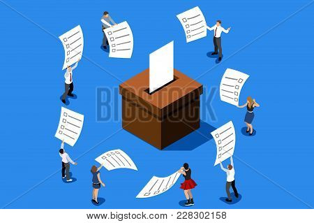 Voting Concept Representing Vote Choice. People Putting Big Paper Into Vote Box. Isometric Design Ve
