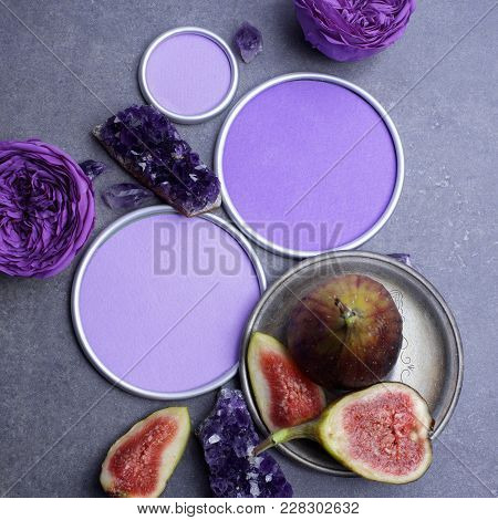 Amethyst Crystals And Figs With A Round Frame With A Place For Designer's