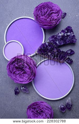 Amethyst Crystals And Roses With A Round Frame With A Place For Designers