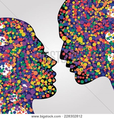 Man And Woman Heads. Psychology Concept Illustration, Vector Art. Abstract Couple Face With Colorful