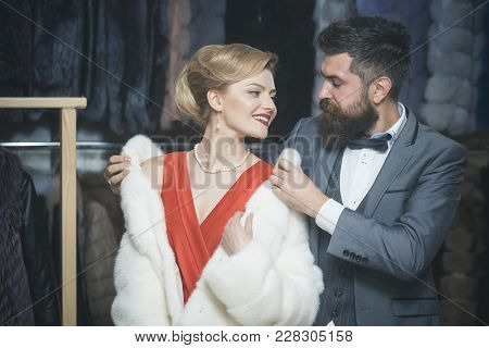 Date, Couple, Love, Man And Woman. Couple In Love Among Fur Coat, Luxury. Fashion And Beauty, Winter