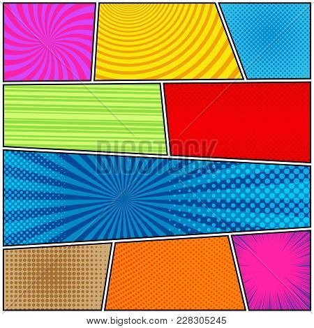 Comic Book Page Background With Halftone Rays Dotted Radial Circles Striped Effects In Bright Colors