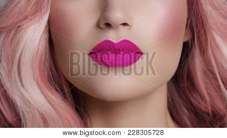 Close-up Of Woman's Lips With Fashion Bright Pink Make-up. Beautiful Female Mouth, Full Lips With Pe