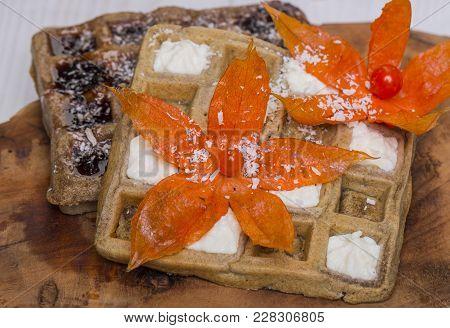 Viennese Waffles With Cream, Jam, Flowers On Wooden Background. Food, Dessert, Snack. Diet, Healthy