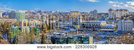 Sochi, Russia - January 27, 2016: Winter Panorama Of The City.