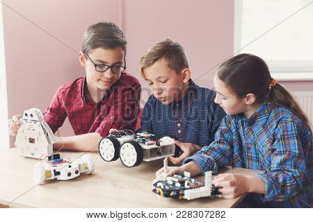 Children Creating Robots At School, Stem Education, Copy Space. Early Development, Diy, Innovation,