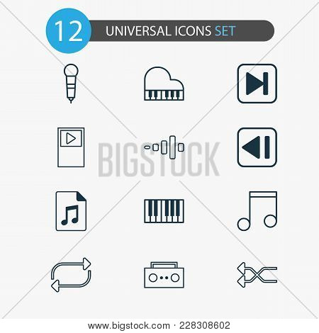 Music Icons Set With Shuffle, Piano, Previous Music And Other Piano Elements. Isolated  Illustration