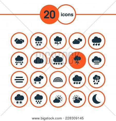 Climate Icons Set With Drizzle, Cloud, Rain And Other Gray Elements. Isolated  Illustration Climate